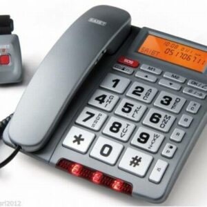 TELEFONO CON TELECOMANDO SOS 2 TASTI PERSONALIZZABILI FISSAGGIO ALLA PARETE FAMILY TELESOS