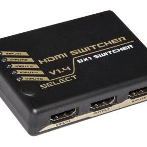 SWITCH HDMI 5 PORTE 4Kx2K@30Hz VERSIONE 1.4 CON TELECOMANDO