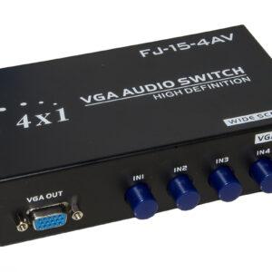 DATA SWITCH MANUALE VGA 150MHz 4 PORTE CON AUDIO