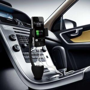 SUPPORTO SMARTPHONE PER ACCENDISIGARI AUTO CON CARICABATTERIA E 2 PRESE USB 2A